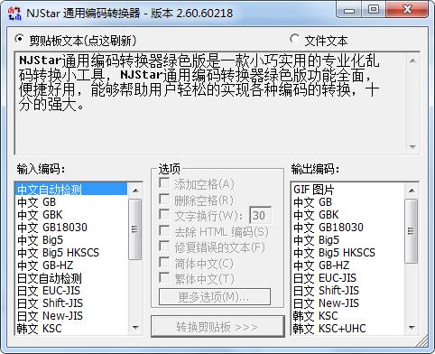 NJStar通用编码转换器截图