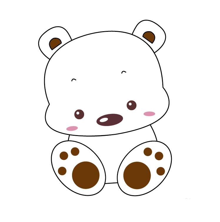 最后使用钢笔工具勾画出小熊的两边的手掌,并填充一个背景色,一只呆萌