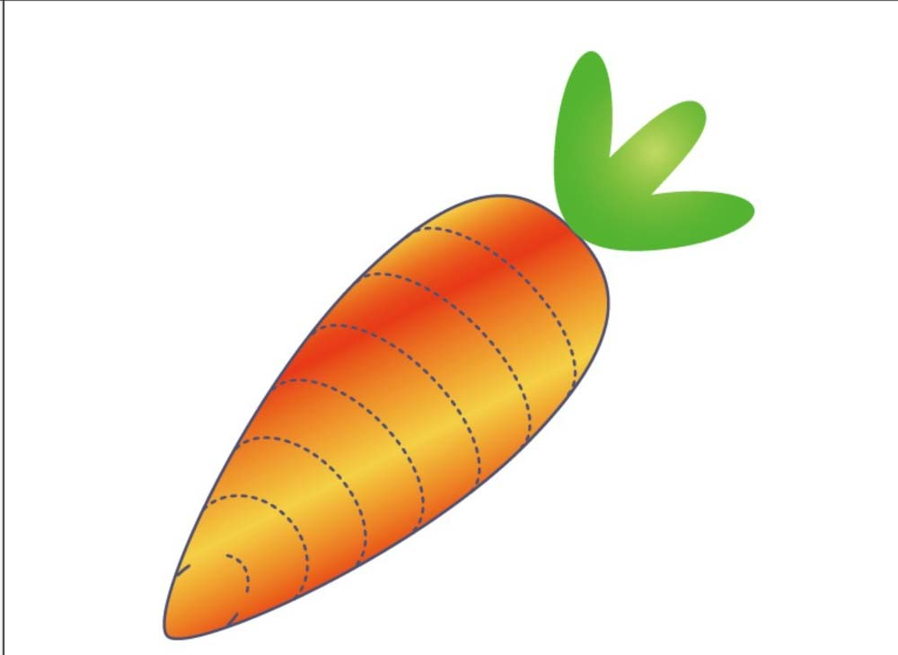 小伙伴们你们知道怎么利用ai画可爱的胡萝卜图片吗?不知道没有关系,现在知道也不迟,让我们跟着小编的不妨去学习利用ai画可爱的胡萝卜图片的具体步骤吧。 利用ai画可爱的胡萝卜图片的具体步骤 1、用曲线工具画出胡萝卜的基本轮廓,上圆弧下尖端的造型结构。
