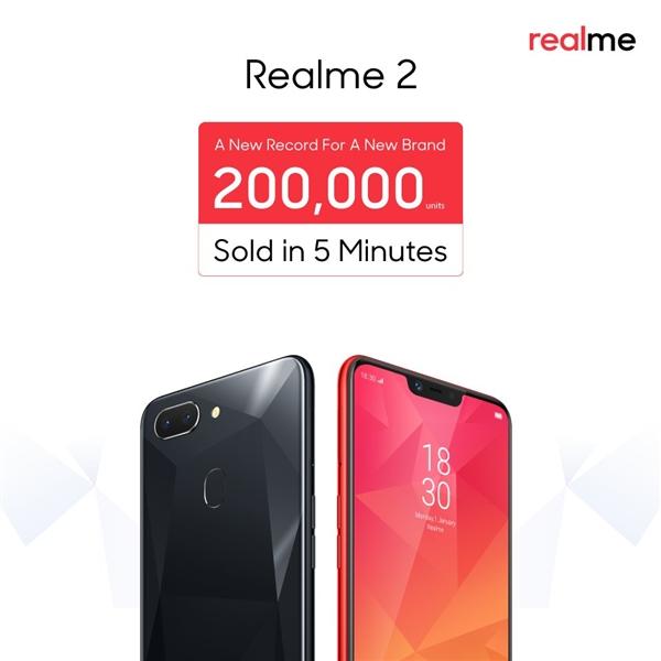 OPPO Realme 2 印度出售:5分钟销量超20万截图