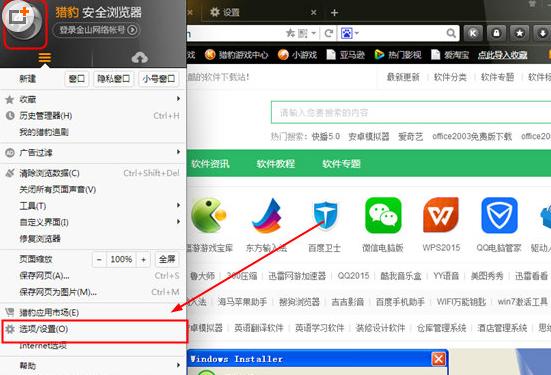 猎豹浏览器设置显示字体的简单操作