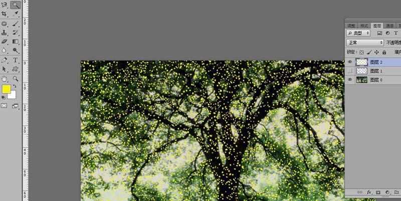 ps怎么大树添加斑点光源? ps制作发光树的教程