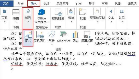 word2013文档插入图片的具体方法截图