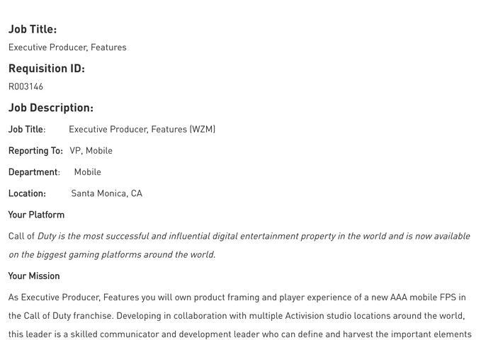 《使命召唤:战区》可能上线手游版本