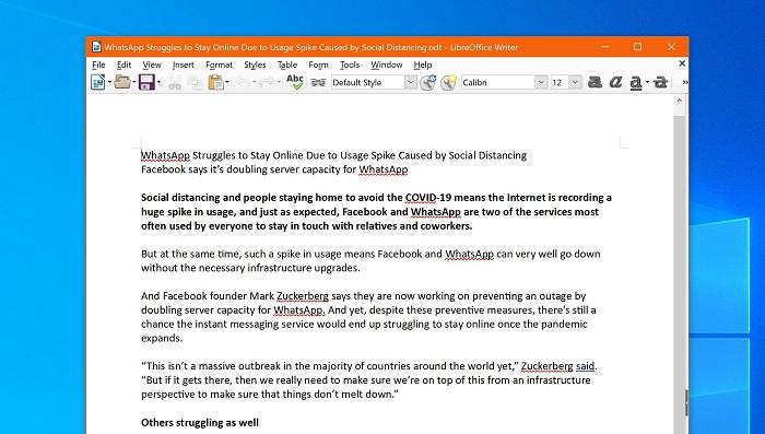 LibreOffice 7.0.2发布:改进文档兼容性截图