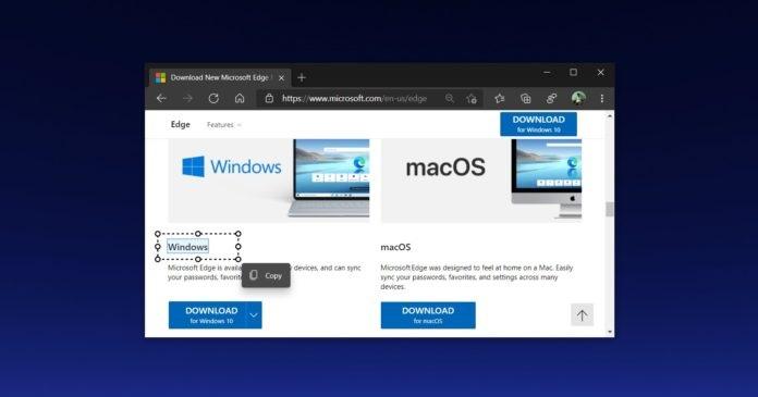 """微软Edge浏览器推出新功能:""""智能复制""""可直接复制网页表格"""