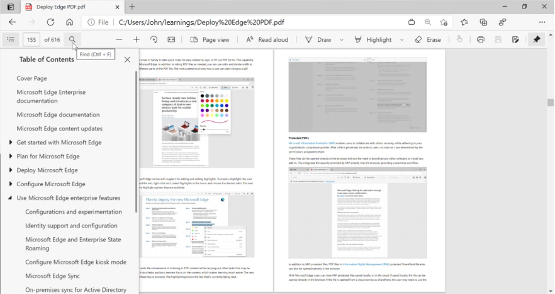 微软 Edge 浏览器发布 PDF 阅读器更新计划 将支持目录、页面视图等