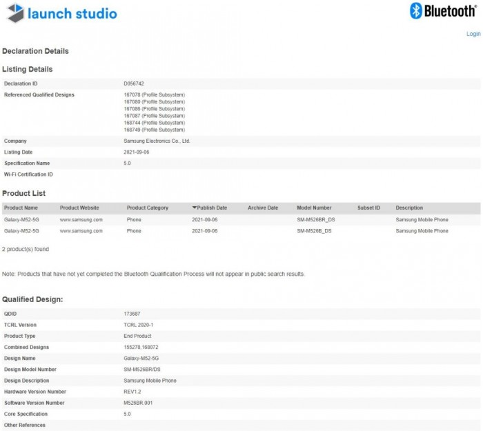 Galaxy M52 5G 通过蓝牙 SIG 认证 确认蓝牙 5.0