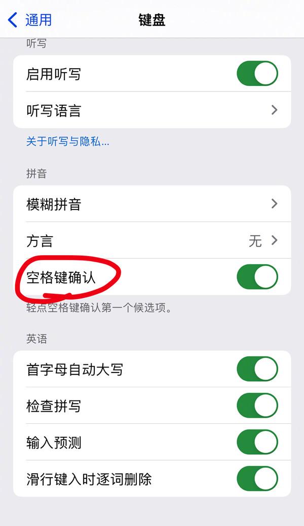 苹果13promax空格键确认如何关闭?苹果13promax空格键确认关闭方法截图